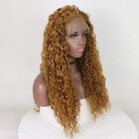 Fantasy Beauty Free Parting Natural Long Loose Curly Gold Blonde High Temperature Fiber Synthetic Lace Front Wig For Women