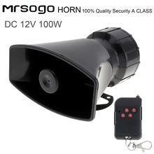 12V 100W 7 Sounds Loud Car Warning Alarm Police Fire Siren Horn Speaker with Remote Controller for Cars Vehicle Auto цена 2017