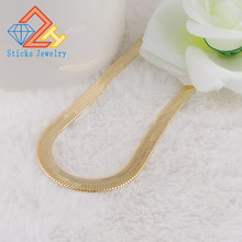 Free shipping Africa real 24K gold-plated necklace! 7mm flat snake chain necklace Christmas ornaments Men Women solid 999 24k yellow gold chain unique round snake chain necklace 8g