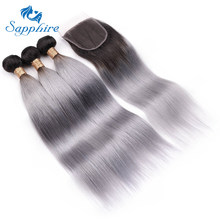 Sapphire Remy Hair Ombre Brazilian Hair Bundles With Closure 1B/Grey Straight Human Hair Weave Bundles Extension Sliver Gray(China)