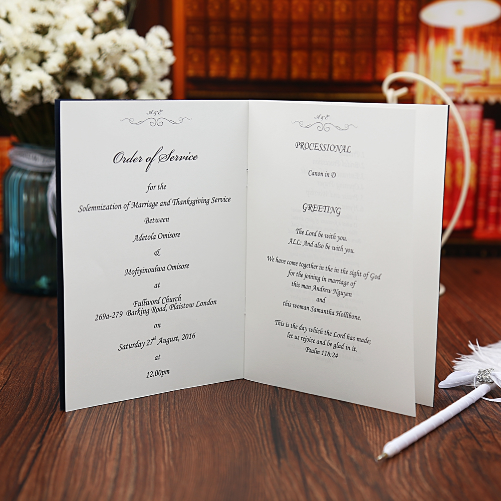 Blue Wedding Program Free Customized Printing Monogram Marriage ...