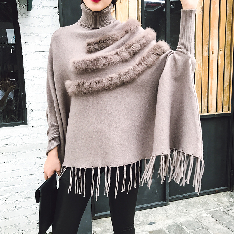 LANMREM 2018 new WOMEN fashion clothes turtleneck batwing sleeves tight knitting wraps tassels patchwork fur sweater