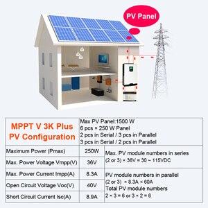 Image 5 - MPPT Solar Inverter 3000W 24V 220V 60A Off Grid Inverter 3Kva Power Pure Sine Wave Inverter Solar Charger 60A Battery Charger