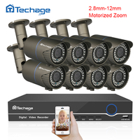 Techage 8CH CCTV System 1080P POE NVR Kit 8PCS 2 8 12mm Motorized Zoom Auto Focus