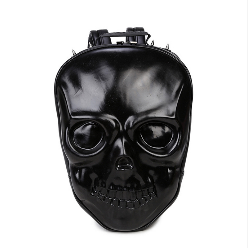 Halloween Skull Bags 2017 Cool 3D Backpack Silver Gold Black Hand Bag Shoulders Bag PU Leather Fashion Bag Hallowmas bucket shaped skull hand halloween tote bag