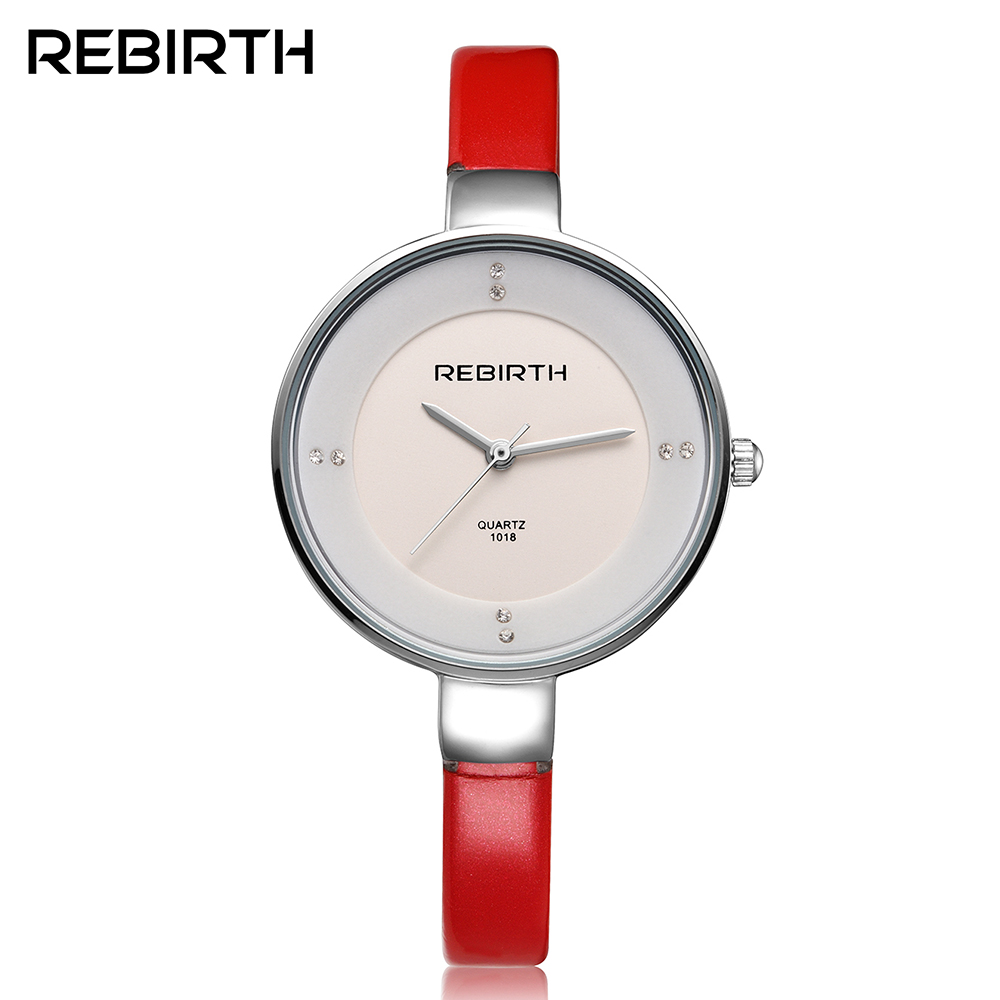New Women Watch Brand REBIRTH Genuine Leather montre femme Casual Dress Watch Ladies Wrist Quartz Watch Women Watches Red Clock цена