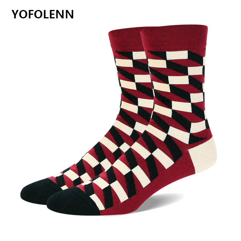 5 Pairs/lot Mens happy funny socks High Quality Combed Cotton with 3D Square Pattern Crew Cool Fashion Casual Wedding Socks