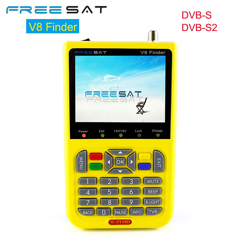Freesat V8 Finder V7-1 HD Receptor Satellite Receiver DVB-S DVB-S2 3.5 inch LCD 1080P HD MPEG-4 Satellite Signal Finder freesat v7 hd powervu satellite tv receiver dvb s2 with 3months free africa cccam account stable on starsat 5e