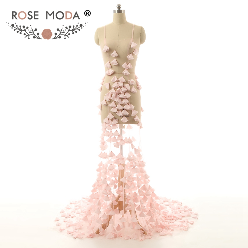 Rose Moda Sexy See Through Pink Mermaid   Prom     Dresses   with Train Thin Straps Party   Dresses   Custom Made