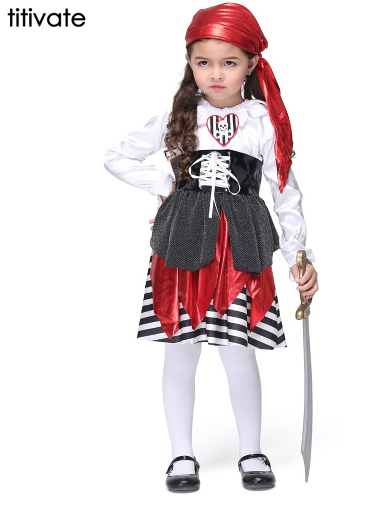 TITIVATE Fashion kids Pirate Costumes Stage Performanse  Halloween party Christmas Carnival Cosplay Uniform Children Dress