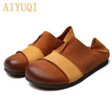 AIYUQI Women's shoes retro 2019 new genuine leather shoes for women spring flats casual women's moccasins loafers mixed colors цены онлайн