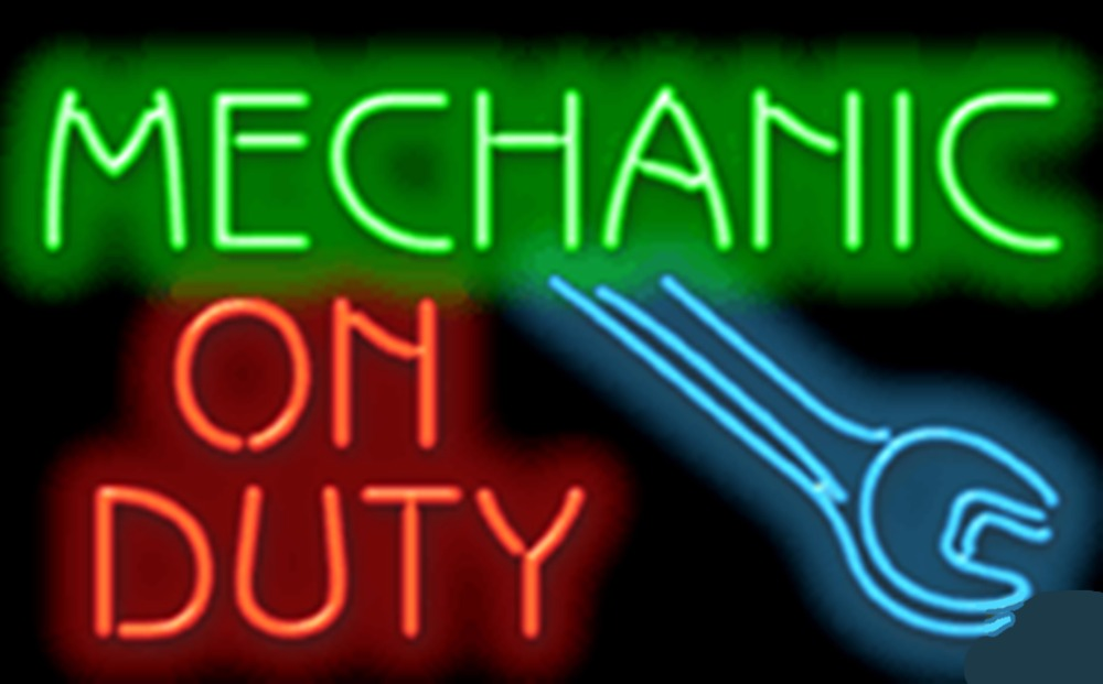 """Mechanic On Duty Repair Car Auto <font><b>Glass</b></font> Tube neon sign Handcrafted Automotive signs Shop Store Business Signboard signage 17\""""x14\"""""""