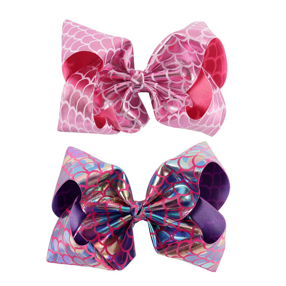 2Pcs/lot Women Girl Big Leather Hair Bow With Alligator Clips Fashion Bling Mermaid Hair Clip Hair Accessories women hair accessories girl hair fascinators wool felt hat flower girl hair bows with clips