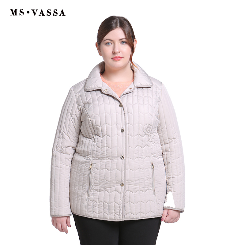 MS VASSA Ladies Jackets Spring Winter 2019 New Casual coats turn down collar plus size 6XL 7XL high quality female outerwear in Jackets from Women 39 s Clothing