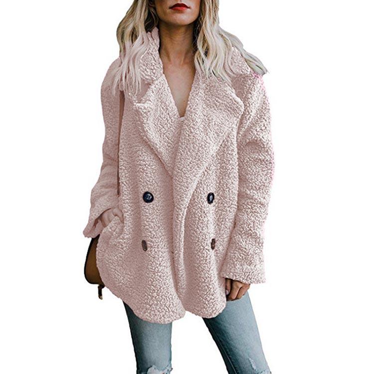 HTB18u.EX.vrK1RjSspcq6zzSXXaN Women winter jacket 2019 fashion new double-breasted sweaters lapel loose fur jacket women outwear women coat ladies jacket