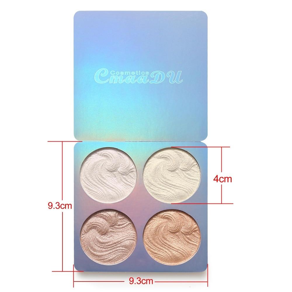 Cmaadu Glow Kit 4 Color Baked Highlighter Palette Shimmer Illuminator Contouring Brighten 3D Face Powder Makeup Bronzer 5