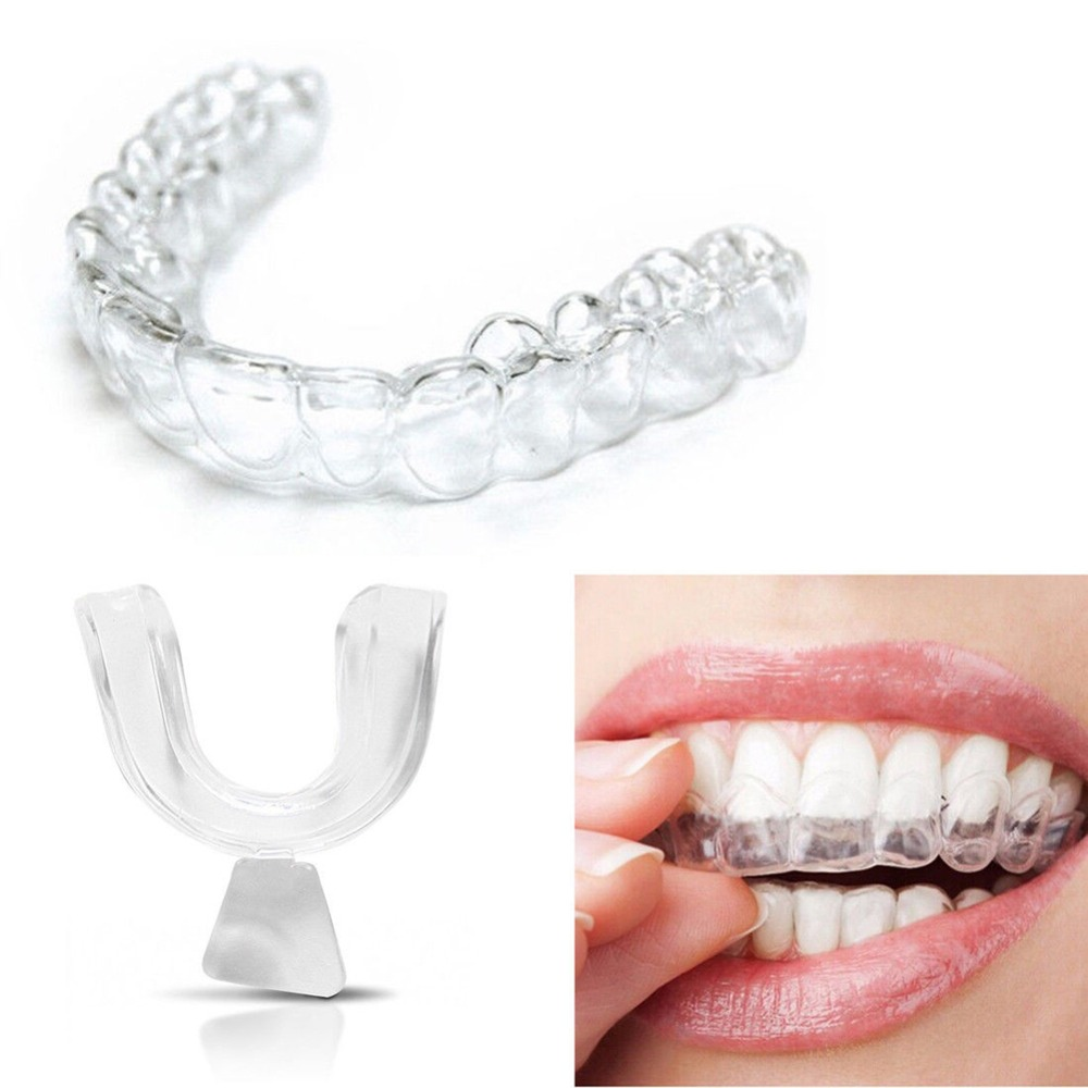 Pro 4pcs Silicone Night Mouth Guard For Teeth Clenching Grinding Dental Bite Sleep Aid Whitening Teeth Mouth Tray Tool Kit