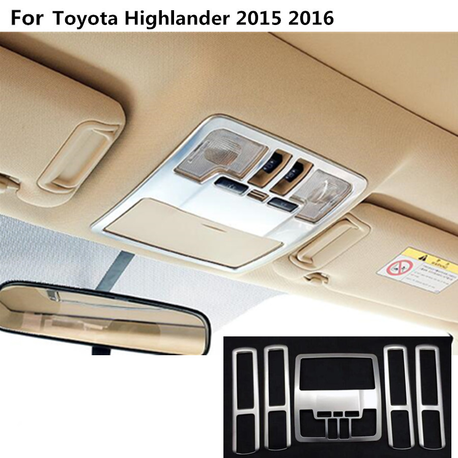 car styling ABS chrome front inner rear tail read reading switch light lamp frame trim 5pcs For toyota Highlander 2015 2016 2017