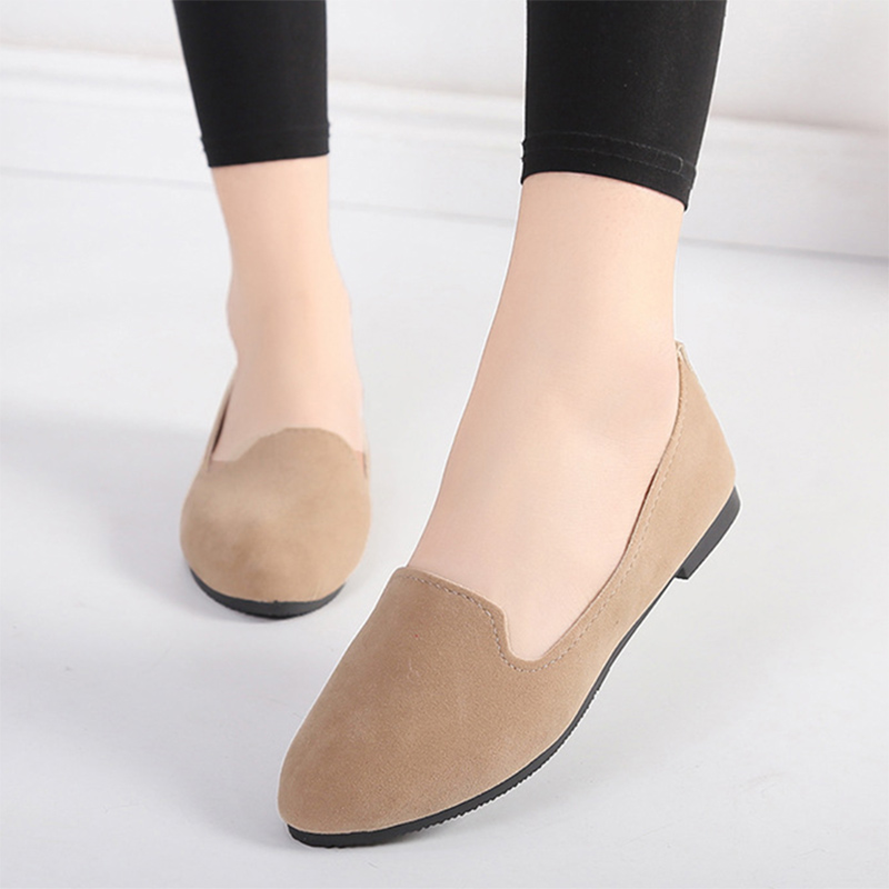 19 Colors Slip On Shoes For Women Loafers Comfortable Flat Shoes Woman Flats Espadrilles Female Big Size Black Red Brown Grey