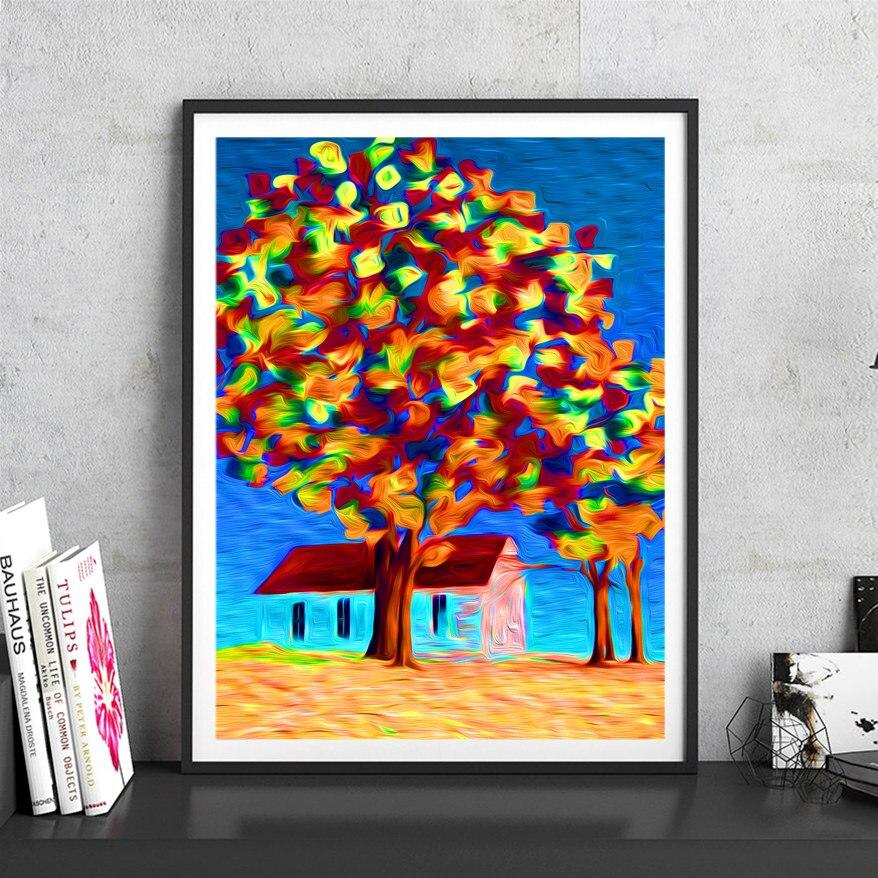 Landschaft Baum Rahmenlose Bilder Malerei Hand Bemalt Druck Poster House Decor Moderne Abstrakte Wohnzimmer Bar