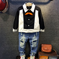 2016 осень Мальчиков Рубашки Белый черный Мальчик Рубашка с длинным Рукавом Рубашки Школа Для Мальчиков детская разорвал отверстие джинсы мода