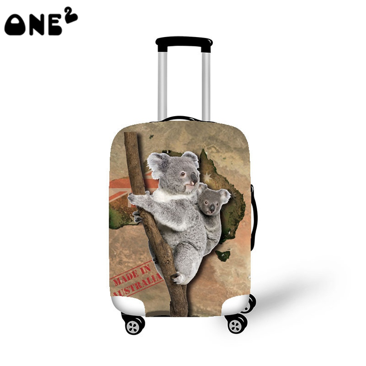 2016 ONE2 Design koala bear picture printing cover apply to 22 24 26 inch suitcase custom