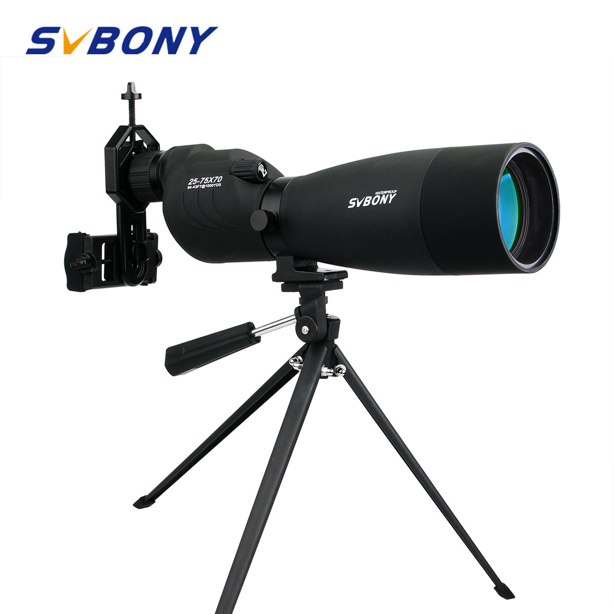 SVBONY Zoom Telescope 25-75x70 SV17 Spotting Scope Waterproof BAK4 Prism FMC Straight Telescope + Table Tripod +Adapter F9326