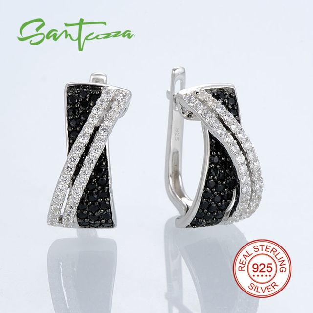 Brincos para As Mulheres Zircão Cúbico de Pedra Natural Preto Spinel CZ Diamante Brincos da Prata Esterlina Bloqueio Russo Moda Jóias