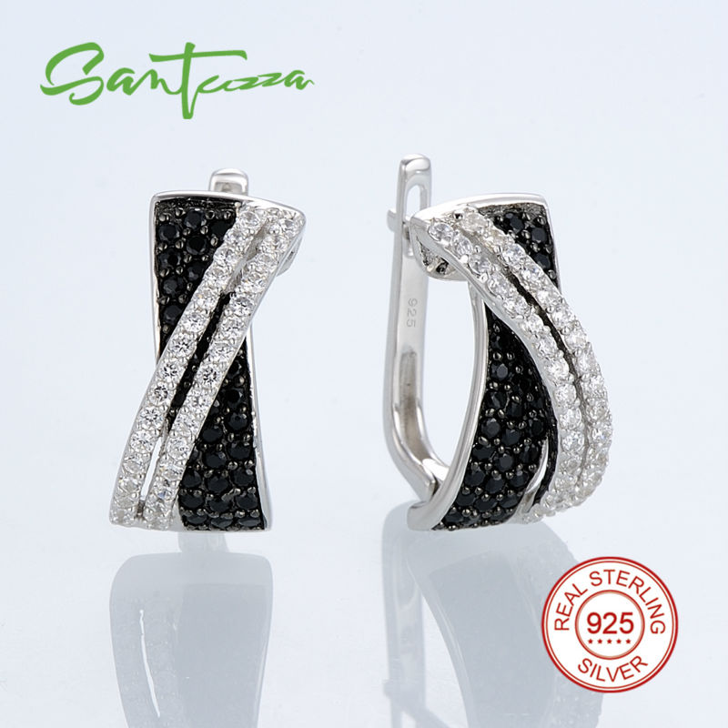 Silver Earrings for Women Natural Stone Black Spinels Cubic Zirconial Pure 925 Sterling Silver Stud Earrings