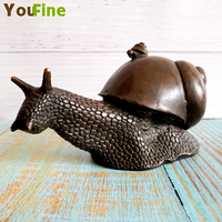 Christmas old Chinese bronze snail ornaments copper Feng Shui wealth auspicious snail statue Halloween bronze snail craft jewelr