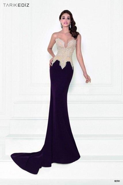 2016 Tarik Ediz Black Nude Formal Evening Gowns Dresses Long Mermaid