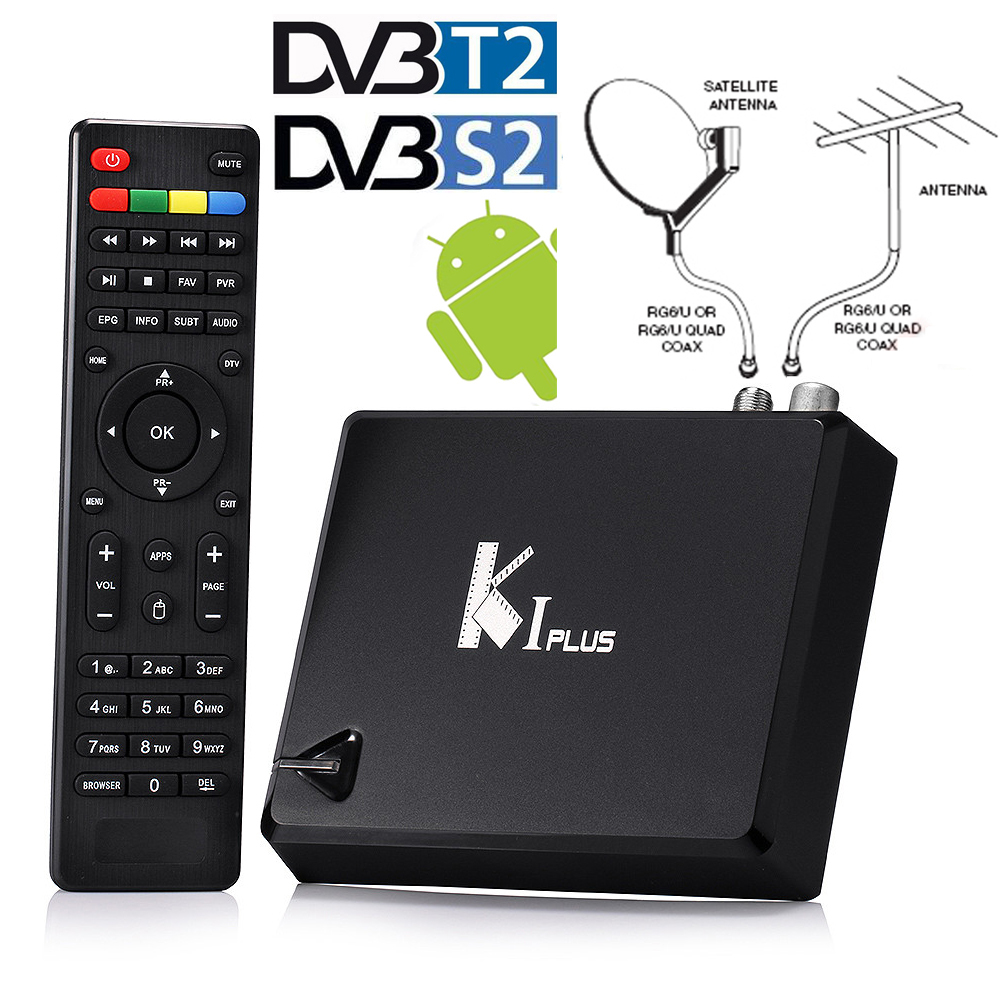 Genuine K1 PLUS DVB-T2 Terrestrial + DVB-S2+ H.265 Android 5.1 1G/8G KODI TV Box Satellite Receiver Support Biss Ccamd Newcamd mini hd dvb t2 terrestrial digital tv receiver support 3d black