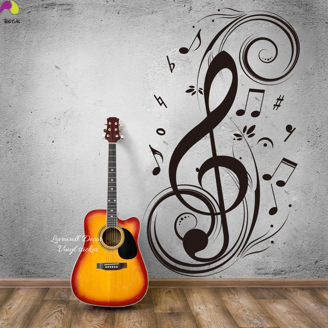 Music note large note floral wall sticker 95cmx56cm musical note rock jazz band wall decal baby