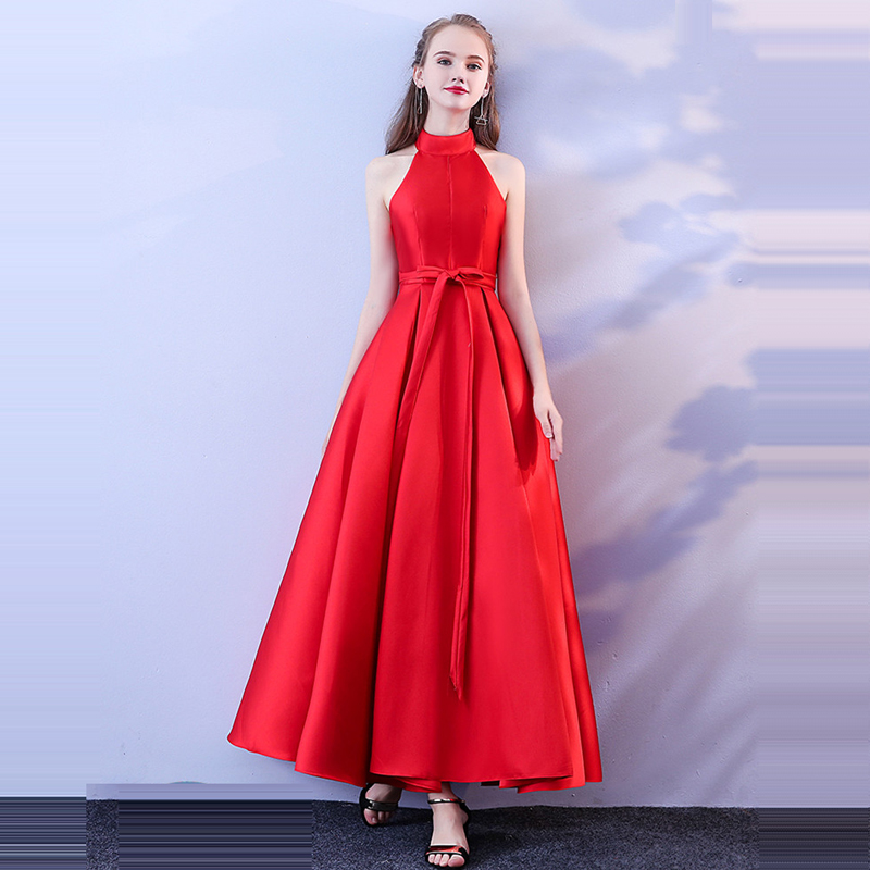 Beauty Emily   Prom   Gowns Evening   Dresses   Red Halter A-line Ankle-length 2019 Custom Plus size Lace up Back Long   Prom     Dresses