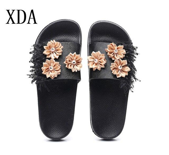 dd1bf695f XDA Fashion flower sandals women brand Flat heel flip flops ladies fringe  platform sandals pearl beach slippers floral shoes