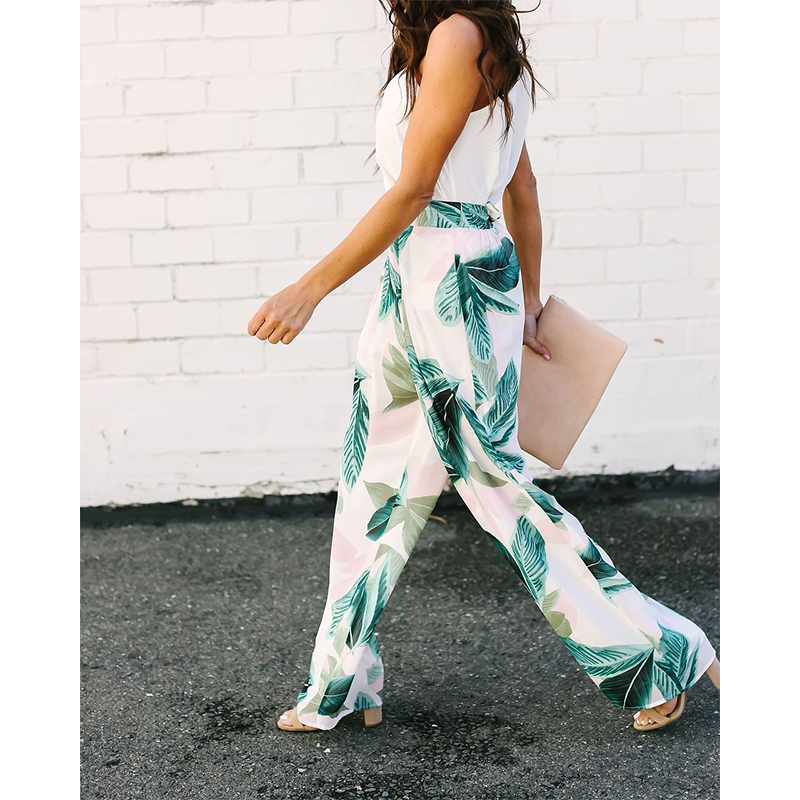 2019 Spring And Summer New Women Casual Pants Sexy High Waist Design Leaves Print Fashion Youth Women Wide Leg Pants F3