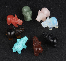лучшая цена Opal Tiger eye Elephant Natural Stone Carved 1.5inch Rose Quartz Figurine Chakra Bead Healing Crystal Reiki Feng Shui Carfts