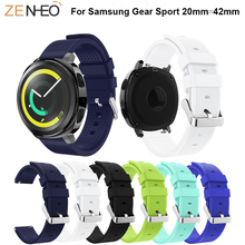 Soft Silicone watchband For Samsung Gear Sport 42mm smart watch strap Replacement wristband Accessories