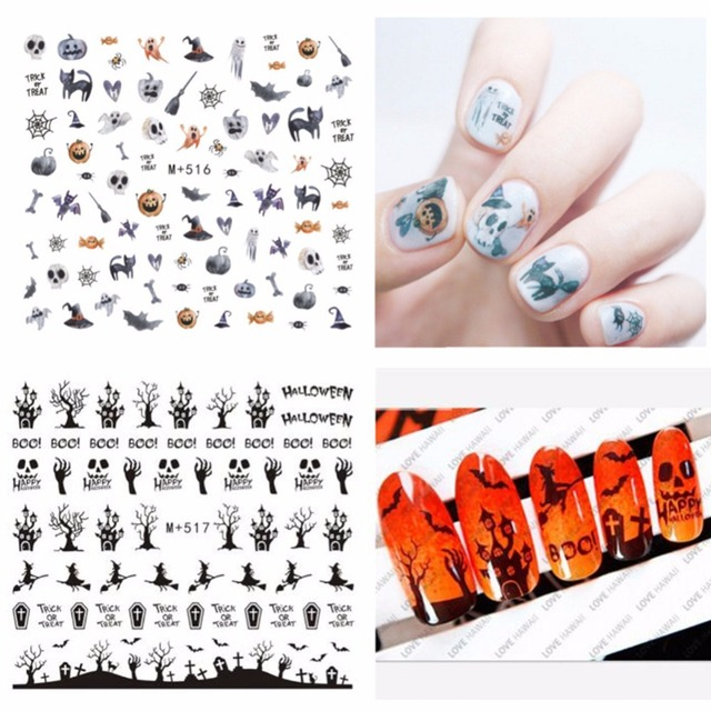 1pcs Halloween Nail Water Decals Pumpkin Skull Nail Art Tattoo