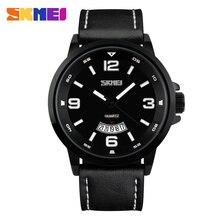 Nueva SKMEI Marca Reloj de Los Hombres Cuarzo de Los Deportes Militares Relojes Auto Fecha Relogio 30 M Impermeable Hombres Reloj de Cuero Genuino