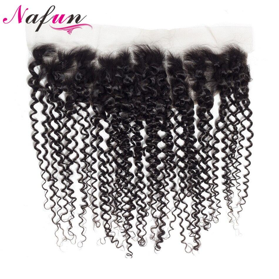 NAFUN Hair Kinky Curly Lace Frontal Closure Ear To Ear Brazilian Non-Remy Human Hair Closure Frontal Closure Pre Plucked Frontal
