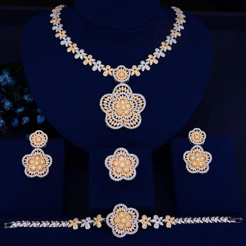 цена Luxury Dubai Bicolors Wedding Jewelry Set Geometric Shape Women Bridal Wedding Necklace Earrings Bracelet Ring Jewelry Sets