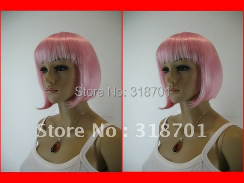 (Free Shipping).Hot Sell New Sexy Short pink Straight Bangs Wig. cosplay wig
