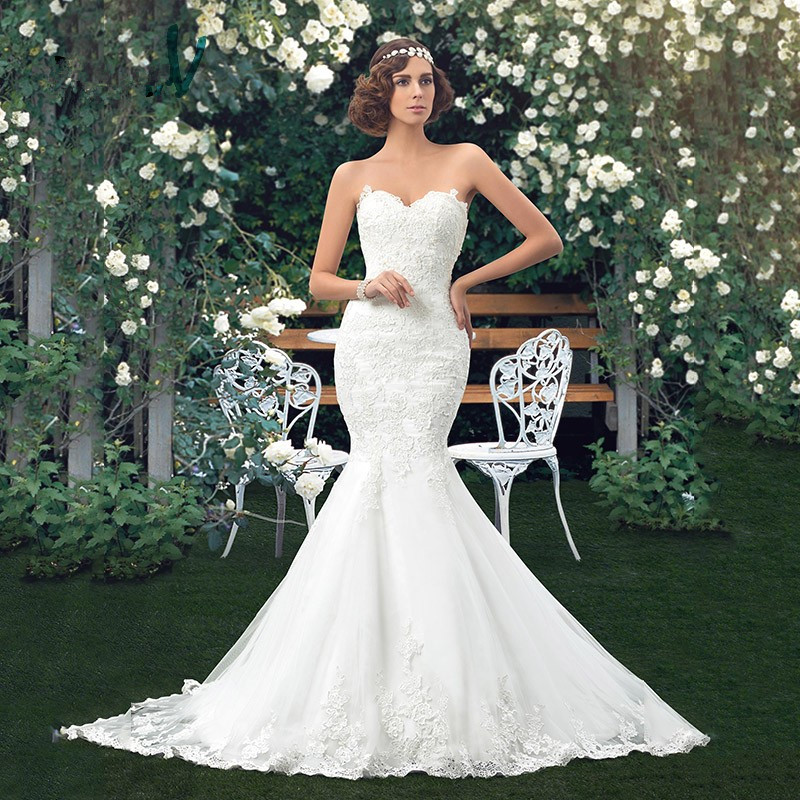 Dress Charming Applique Bridal Gowns Mermaid Lace Wedding Dresses Sweetheart Trumpet floor length vintage wedding dress girl
