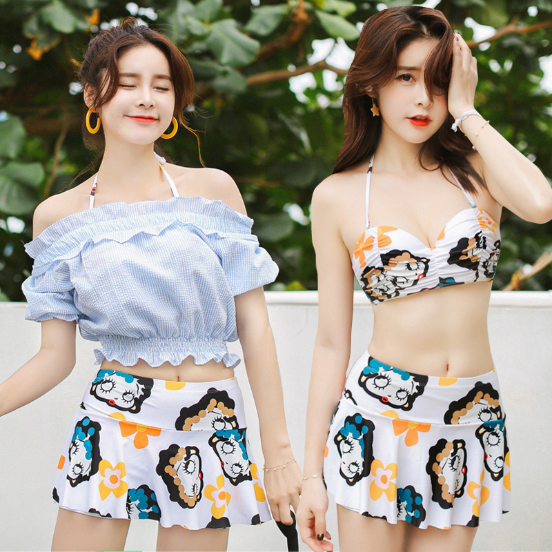NIUMO NEW Beach sports Vacation Swimwear woman Bikini three-piece suit Small chest Gather together student swimsuit Bikini niumo new beach sports swim swimsuit woman skirt style bikini three piece suit swimwear gather together hot spring swimwear