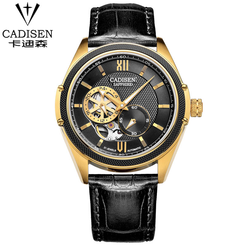 Luxury Top Brand CADISEN Men's Automatic Watches Leather Strap Business Mechanical Watch Fashion Waterproof Relogio Masculino read men s business automatic mechanical leather strap watch luxury brand fashion waterproof wristwatch r8009