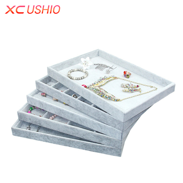 Professional Jewelry Display Tray Velvet Necklace Ring Earring Storage  Organizer Jewellery Display Holder Showcase Box