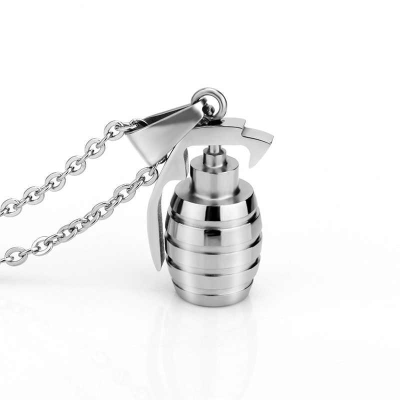 SOITIS stal nierdzewna stalowy łańcuch Hiphop ręcznie granaty naszyjnik Charms mężczyźni biżuteria bomby wisiorek Trendy Party