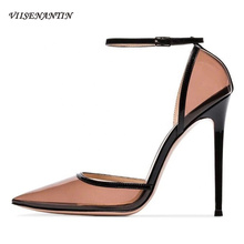 VIISENANTIN 2019 women summer new shoes PVC real leather pointed toe ankle strap sexy party pumps stiletto sapatos