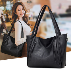 2018 brand high quality soft leather large pocket casual handbag women's handbag shoulder bag large capacity handbag